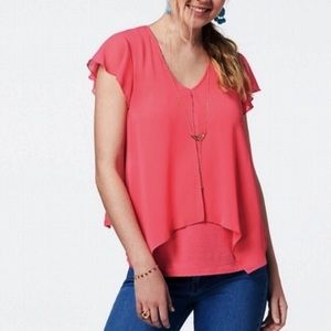 BCX Hot Pink Angled Flounce Blouse With Necklace